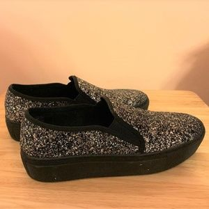 WANTED Slip On Sparkle Glitter Loafer Boat Shoes